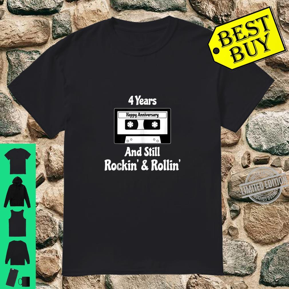 4th Wedding Anniversary 4 Years Cassette Tape Rock Roll Shirt