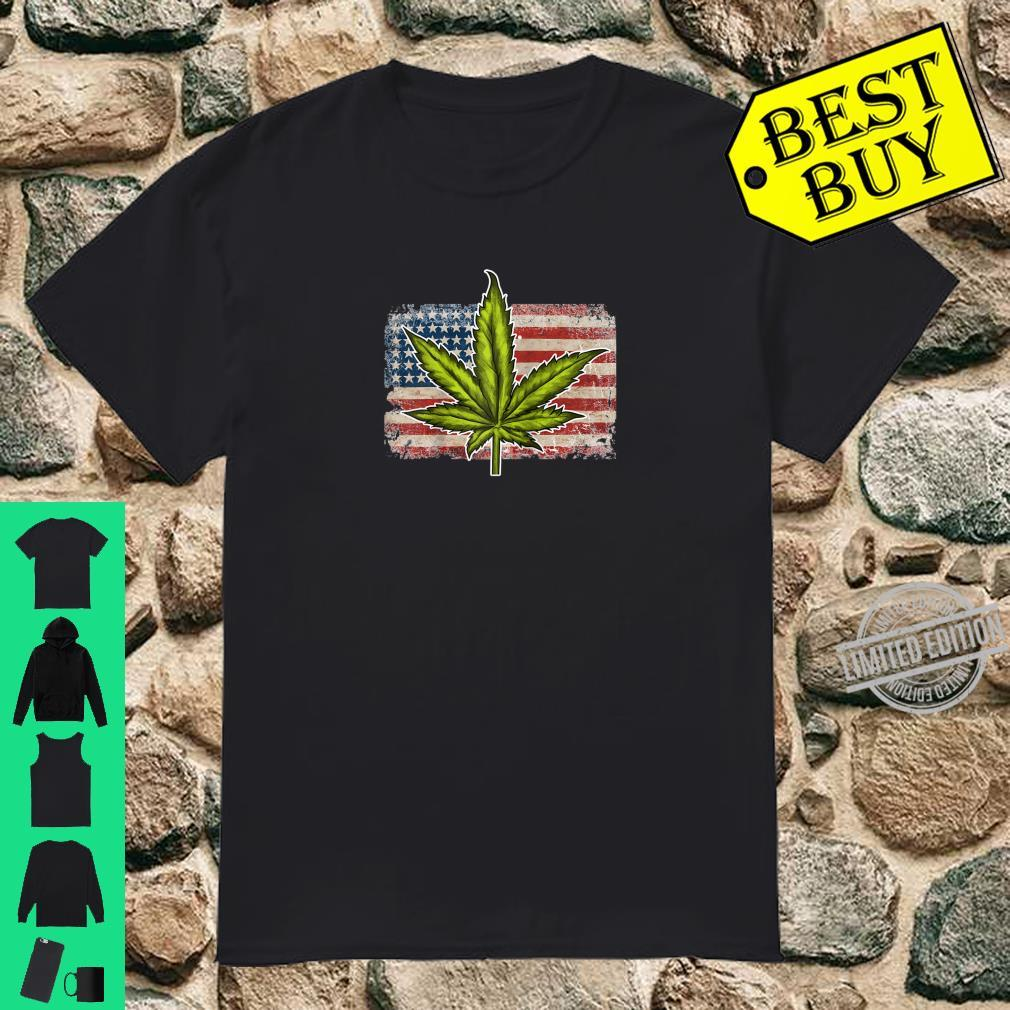 American Flag Weed Marijuana Leaf Shirt