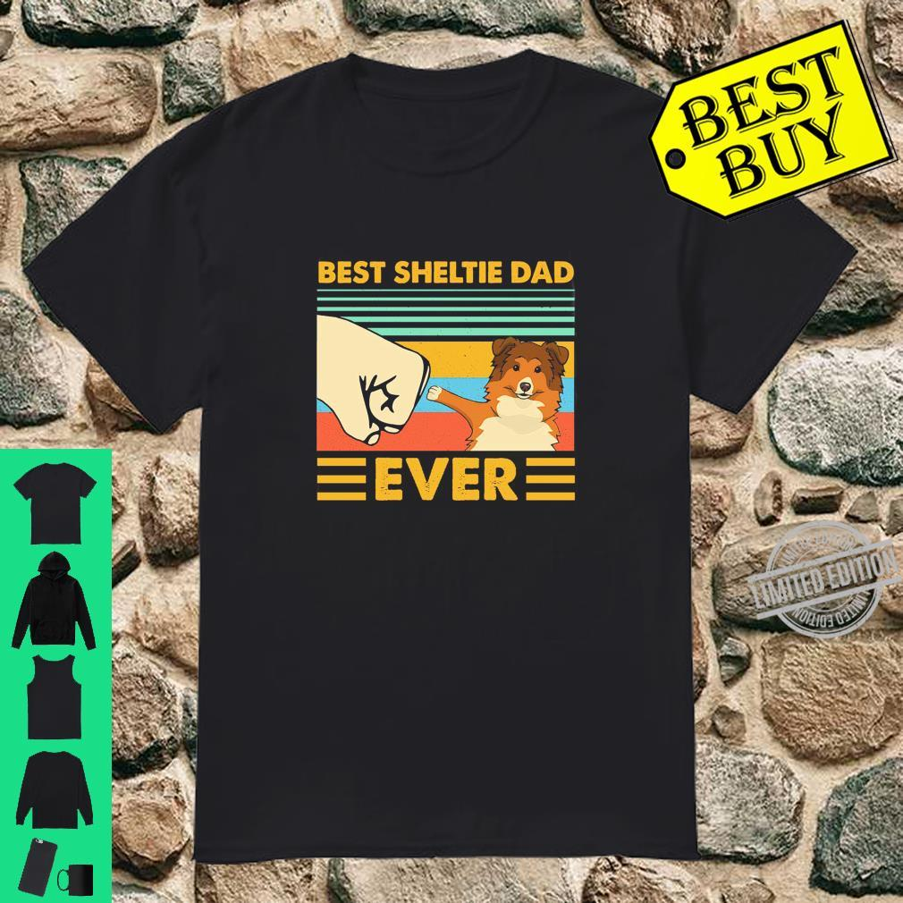 Best Sheltie Dad Ever Retro Vintage Sunset Shirt