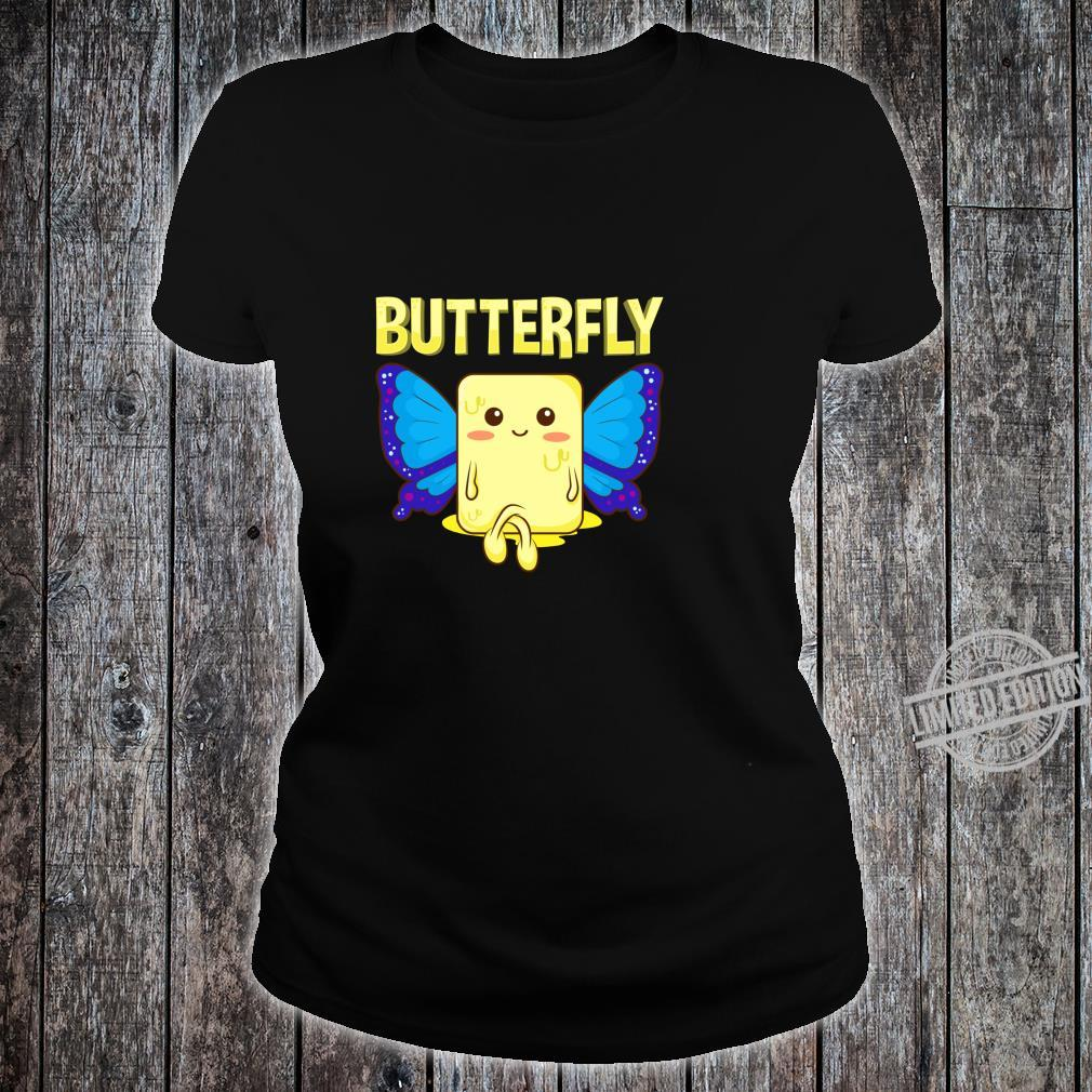 Cute & Butterfly Stick Of Butter With Wings Pun Shirt ladies tee