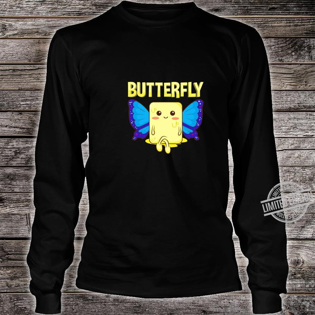 Cute & Butterfly Stick Of Butter With Wings Pun Shirt long sleeved