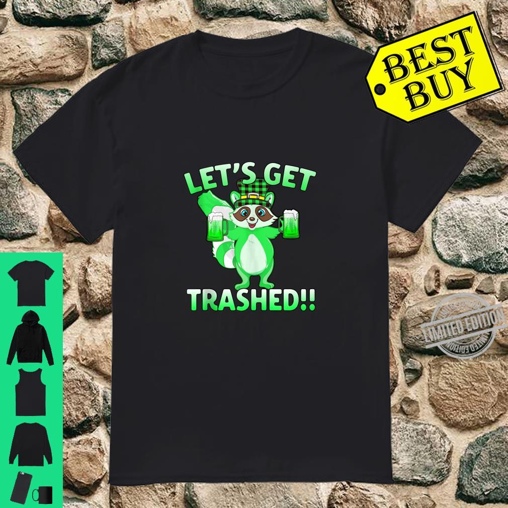Cute Raccoon Let's Get Trashed St Patrick's Day Shirt