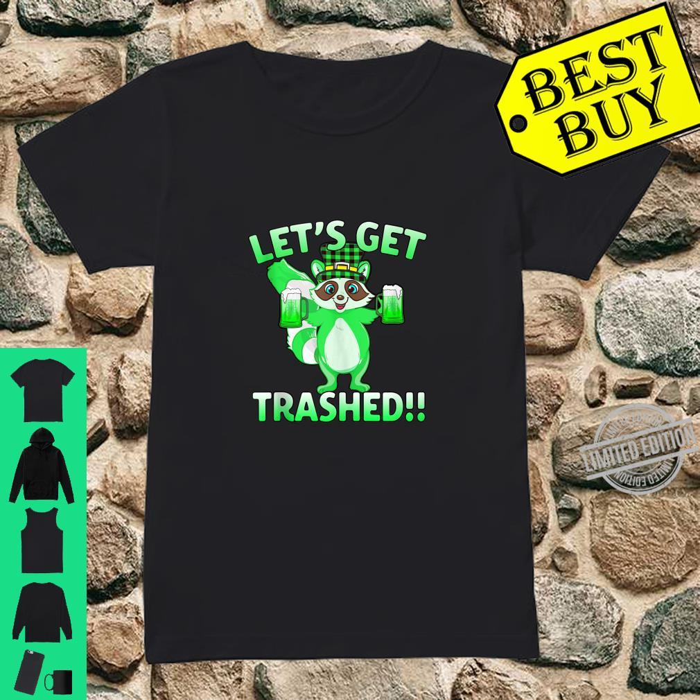 Cute Raccoon Let's Get Trashed St Patrick's Day Shirt ladies tee