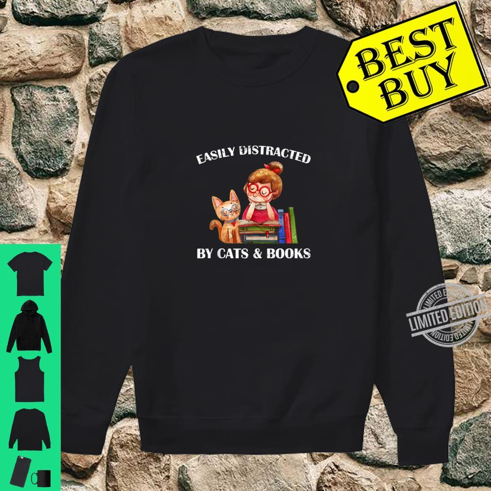 Easily Distracted By Cats And Books Cat & Book Shirt sweater