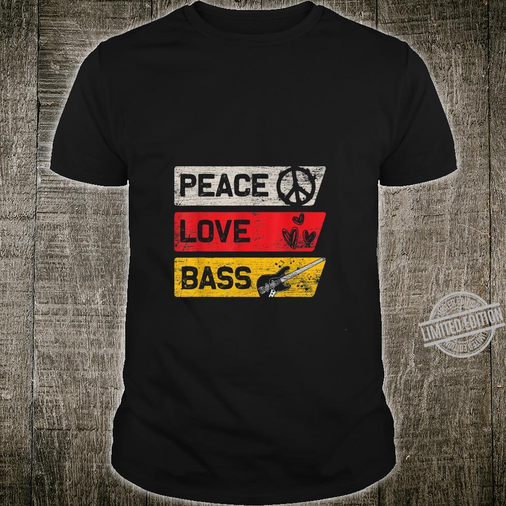 Frieden Musiker Liebe Musikinstrument Bass Gitarre Shirt