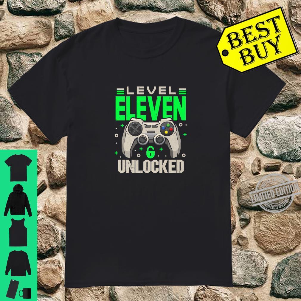 Level 11 Unlocked 11th Eleven Birthday Gamer Boys Shirt