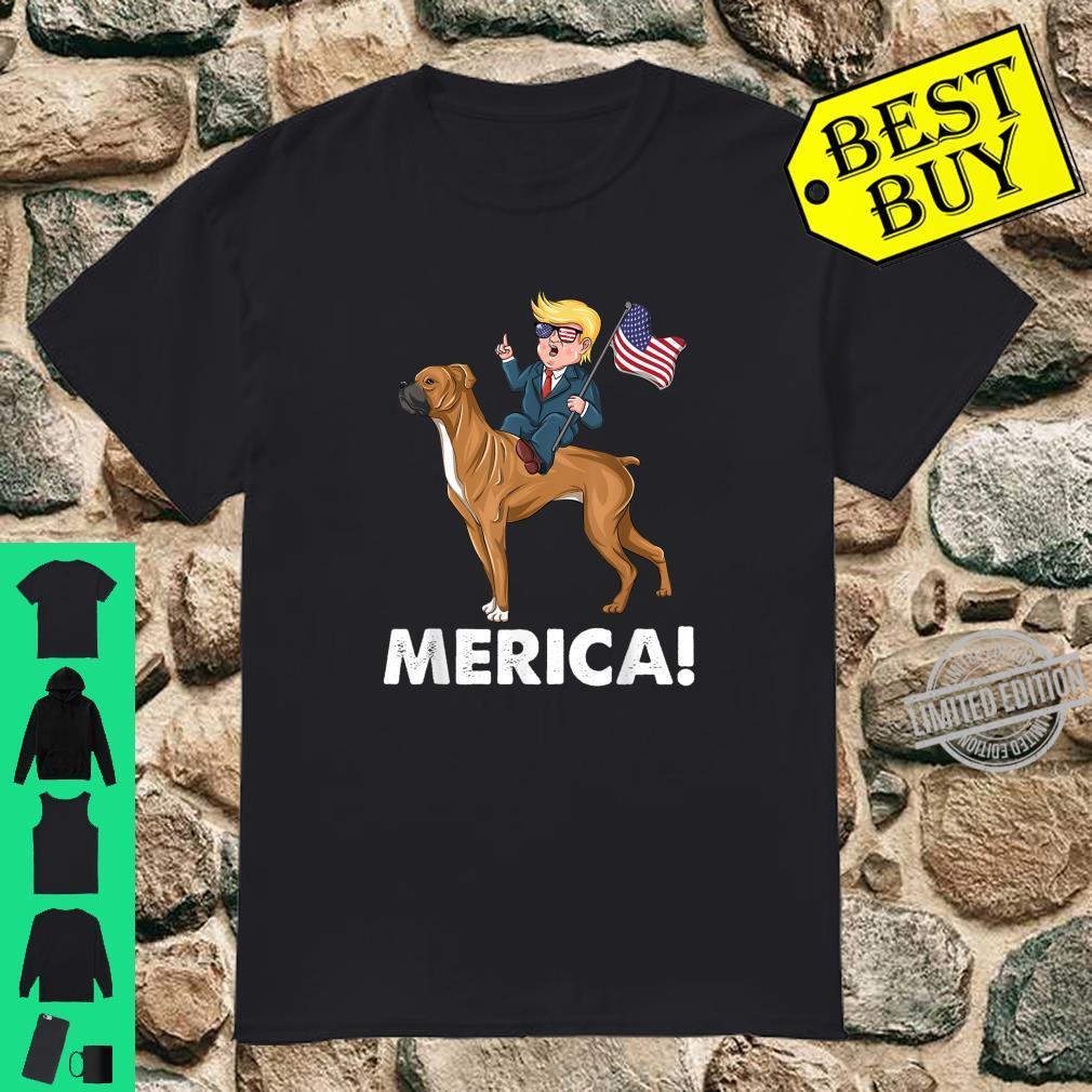 Trump Merica Boxer Dog American Hero 4th of July Shirt