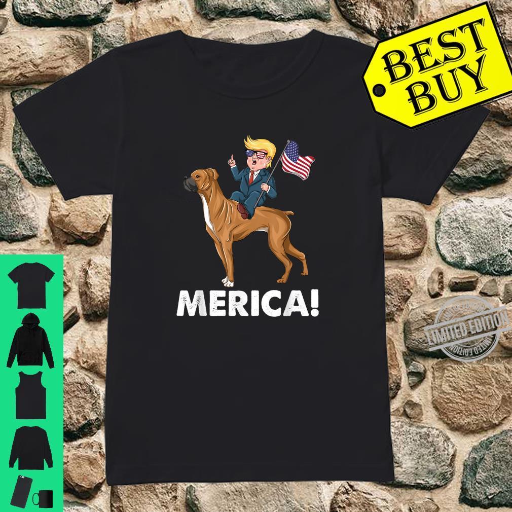 Trump Merica Boxer Dog American Hero 4th of July Shirt ladies tee