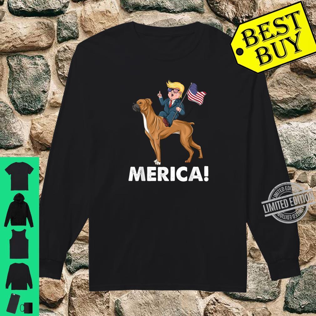 Trump Merica Boxer Dog American Hero 4th of July Shirt long sleeved