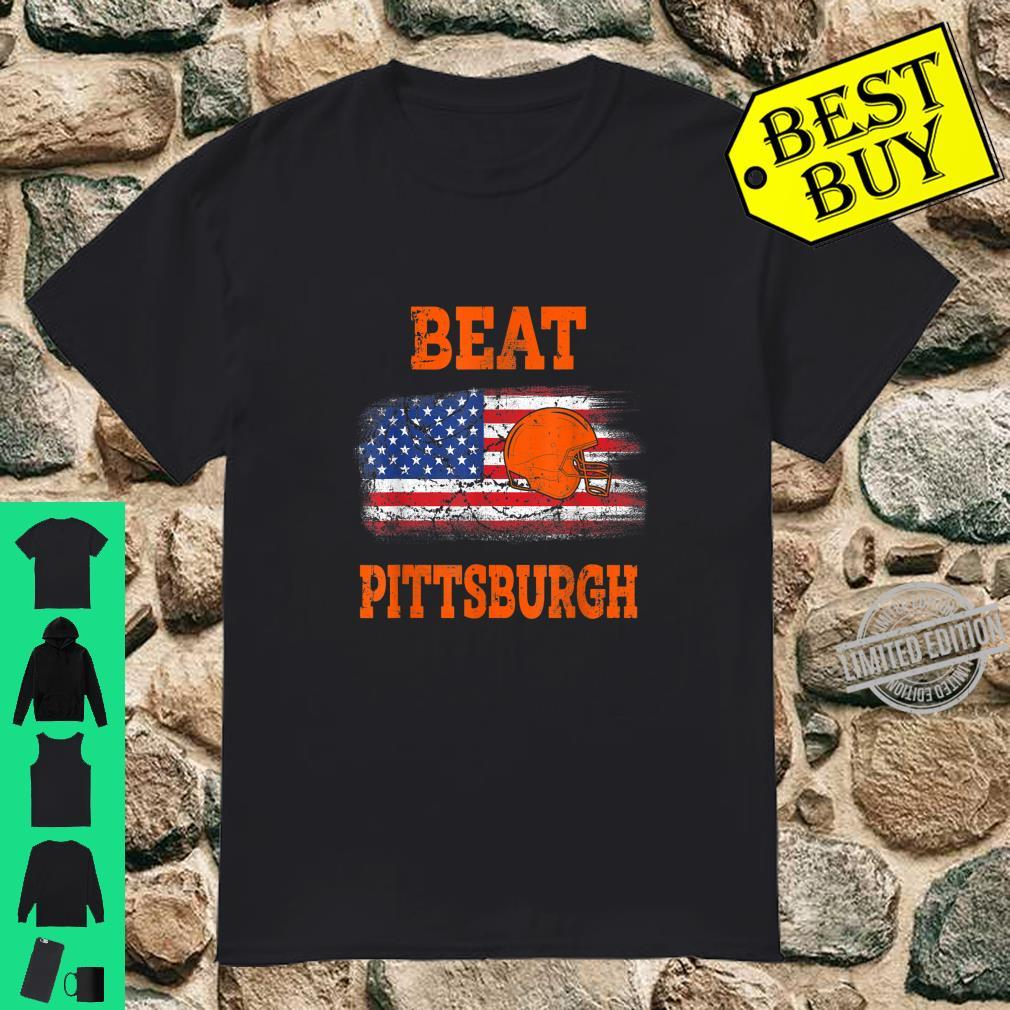 Vintage Beat Pittsburgh Helmet American Flag US Flag Shirt