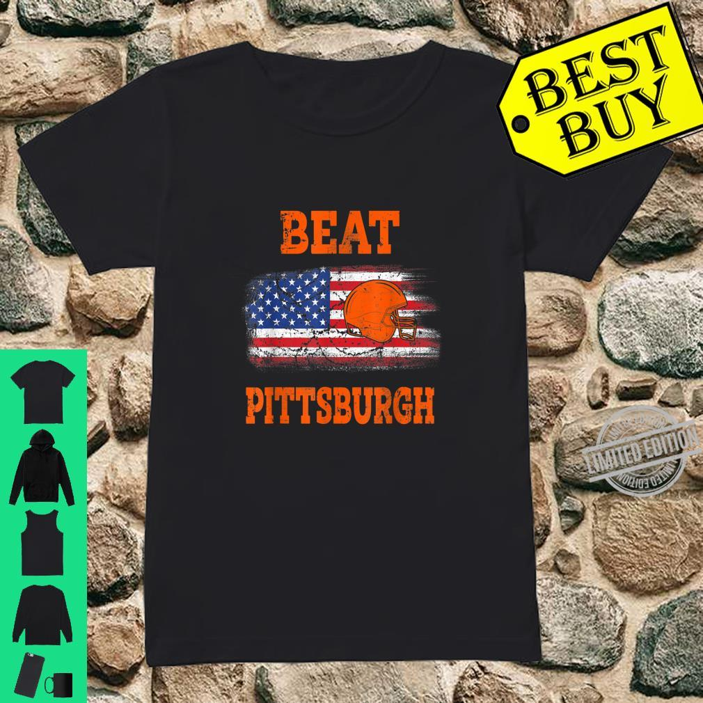 Vintage Beat Pittsburgh Helmet American Flag US Flag Shirt ladies tee