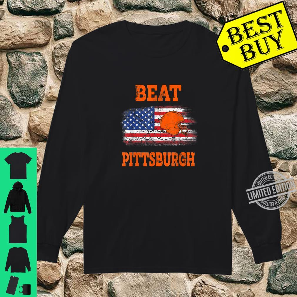 Vintage Beat Pittsburgh Helmet American Flag US Flag Shirt long sleeved