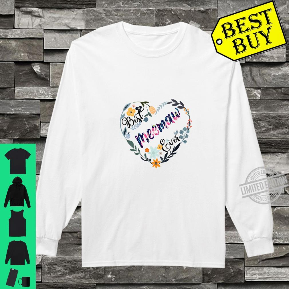 Womens Best Meemaw Ever Flower Blessed Grandma Mother's Day Shirt long sleeved